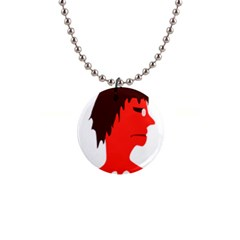 Monster With Men Head Illustration Button Necklace