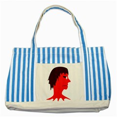 Monster with Men Head Illustration Blue Striped Tote Bag