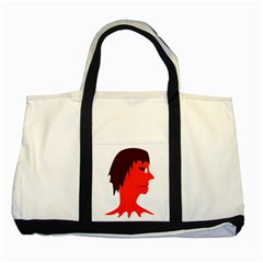 Monster with Men Head Illustration Two Toned Tote Bag