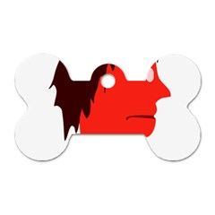 Monster with Men Head Illustration Dog Tag Bone (Two Sided)