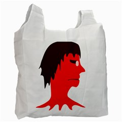Monster With Men Head Illustration White Reusable Bag (two Sides)