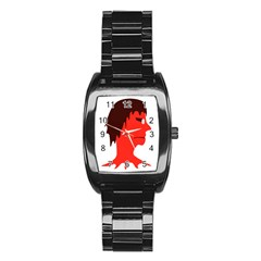 Monster With Men Head Illustration Stainless Steel Barrel Watch