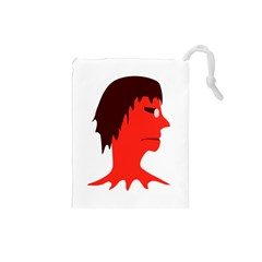 Monster with Men Head Illustration Drawstring Pouch (Small)