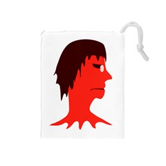 Monster With Men Head Illustration Drawstring Pouch (medium)