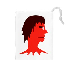 Monster With Men Head Illustration Drawstring Pouch (large)