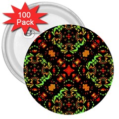 Intense Floral Refined Art Print 3  Button (100 Pack)