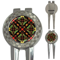 Intense Floral Refined Art Print Golf Pitchfork & Ball Marker