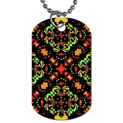 Intense Floral Refined Art Print Dog Tag (one Sided)