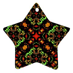 Intense Floral Refined Art Print Star Ornament (two Sides)