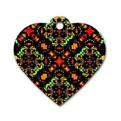 Intense Floral Refined Art Print Dog Tag Heart (Two Sided)