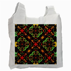 Intense Floral Refined Art Print White Reusable Bag (Two Sides)