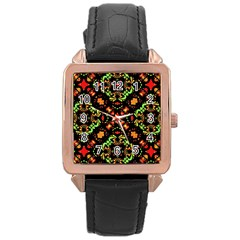 Intense Floral Refined Art Print Rose Gold Leather Watch