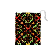 Intense Floral Refined Art Print Drawstring Pouch (small)