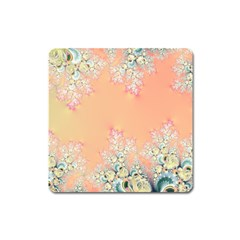 Peach Spring Frost On Flowers Fractal Magnet (square)