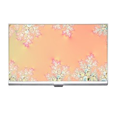 Peach Spring Frost On Flowers Fractal Business Card Holder