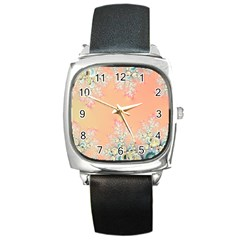 Peach Spring Frost On Flowers Fractal Square Leather Watch