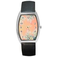 Peach Spring Frost On Flowers Fractal Tonneau Leather Watch