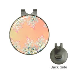 Peach Spring Frost On Flowers Fractal Hat Clip With Golf Ball Marker