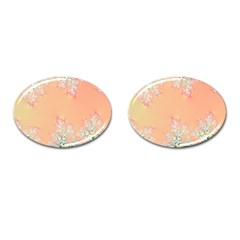 Peach Spring Frost On Flowers Fractal Cufflinks (oval)