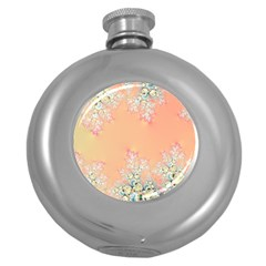 Peach Spring Frost On Flowers Fractal Hip Flask (round)