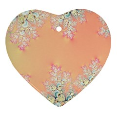 Peach Spring Frost On Flowers Fractal Heart Ornament (Two Sides)