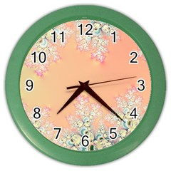 Peach Spring Frost On Flowers Fractal Wall Clock (color)