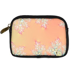 Peach Spring Frost On Flowers Fractal Digital Camera Leather Case