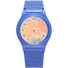 Peach Spring Frost On Flowers Fractal Plastic Sport Watch (Small)
