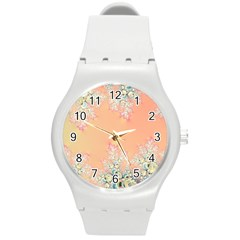 Peach Spring Frost On Flowers Fractal Plastic Sport Watch (medium)