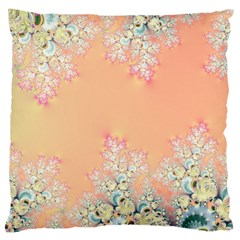 Peach Spring Frost On Flowers Fractal Large Cushion Case (two Sided)