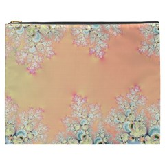 Peach Spring Frost On Flowers Fractal Cosmetic Bag (XXXL)