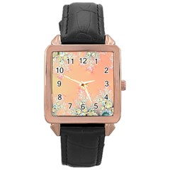 Peach Spring Frost On Flowers Fractal Rose Gold Leather Watch