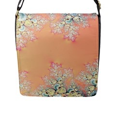 Peach Spring Frost On Flowers Fractal Flap Closure Messenger Bag (Large)