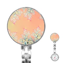 Peach Spring Frost On Flowers Fractal Stainless Steel Nurses Watch