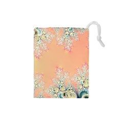 Peach Spring Frost On Flowers Fractal Drawstring Pouch (small)