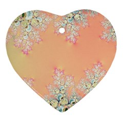 Peach Spring Frost On Flowers Fractal Heart Ornament