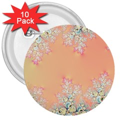 Peach Spring Frost On Flowers Fractal 3  Button (10 pack)