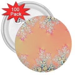 Peach Spring Frost On Flowers Fractal 3  Button (100 Pack)
