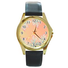 Peach Spring Frost On Flowers Fractal Round Leather Watch (gold Rim)