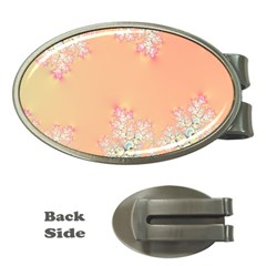 Peach Spring Frost On Flowers Fractal Money Clip (oval)