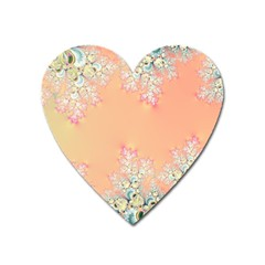Peach Spring Frost On Flowers Fractal Magnet (heart)