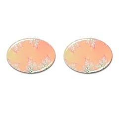 Peach Spring Frost On Flowers Fractal Cufflinks (oval)