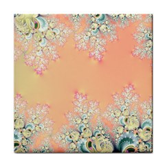 Peach Spring Frost On Flowers Fractal Face Towel