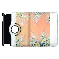 Peach Spring Frost On Flowers Fractal Apple iPad 3/4 Flip 360 Case