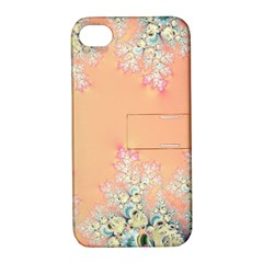Peach Spring Frost On Flowers Fractal Apple Iphone 4/4s Hardshell Case With Stand