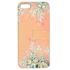 Peach Spring Frost On Flowers Fractal Apple Iphone 5 Hardshell Case With Stand