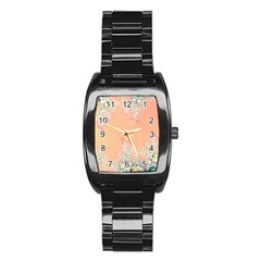 Peach Spring Frost On Flowers Fractal Stainless Steel Barrel Watch