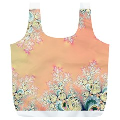 Peach Spring Frost On Flowers Fractal Reusable Bag (XL)