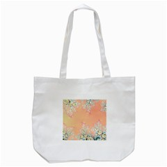 Peach Spring Frost On Flowers Fractal Tote Bag (White)