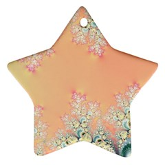 Peach Spring Frost On Flowers Fractal Star Ornament